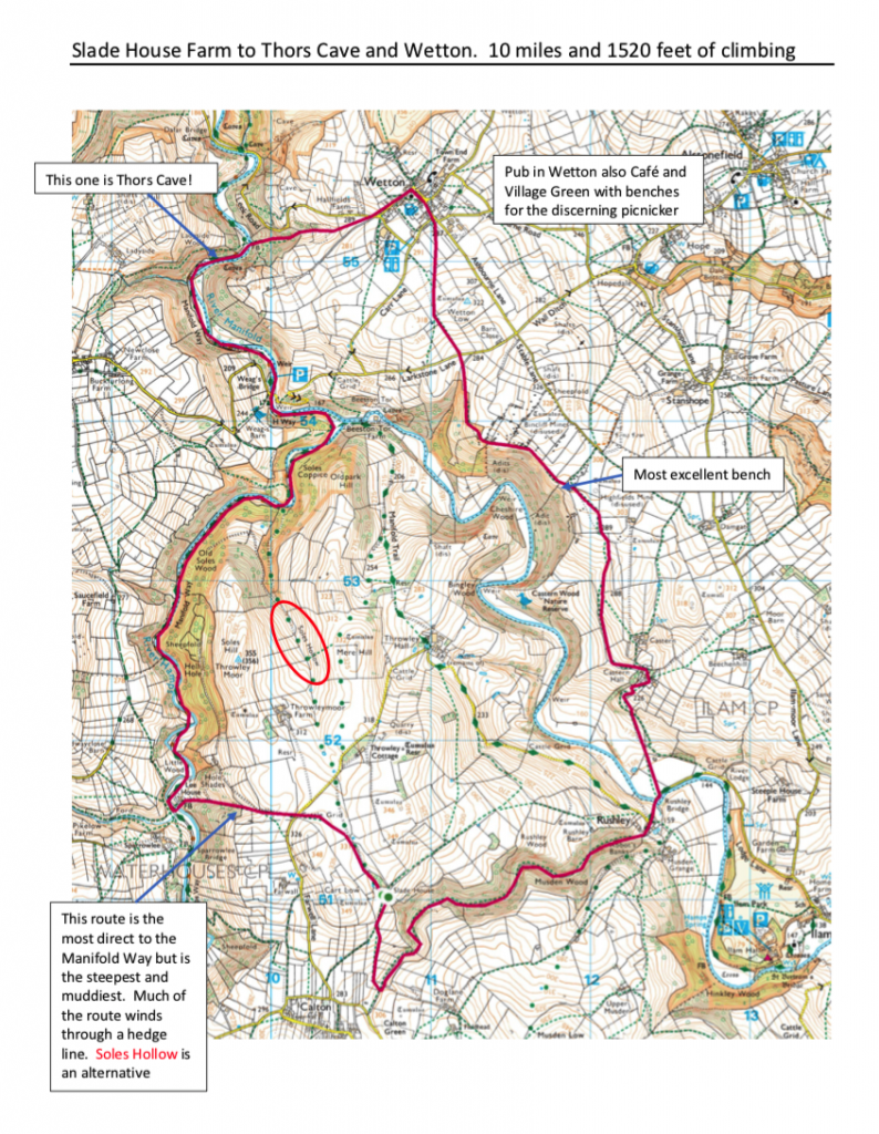 Map of walk from Slide House farm to Thor's Cave and Wetton